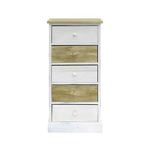 Rebecca Mobili Cassettiera 5 cassetti, comodino shabby, 5 cassetti, legno, bianco beige, camera ingresso - Misure: 84 x 40 x 29 cm (HxLxP) - Art. RE4401