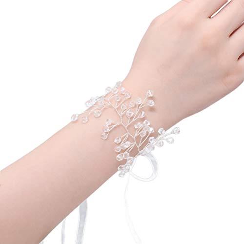 Amosfun mano nupcial flor cristal dama de honor pulsera banda flor ramillete pulsera con cinta de hilo para boda dama de honor fiesta decoración (plata)