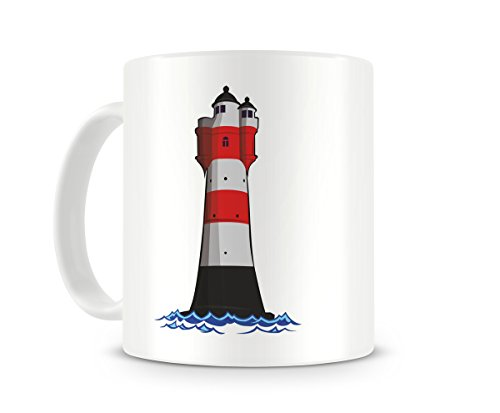 Samunshi® Roter Sand Leuchtturm Tasse Kaffeetasse Teetasse Leuchtfeuer