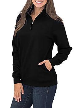 Women Quarter Zip Sweatshirts Long Sleeves Fleece Pullover Sweatshirts with Pockets Black M 8 10