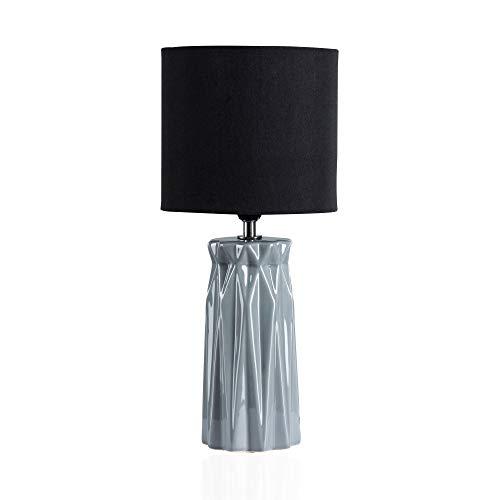 Pauleen Glossy Glow Tischleuchte max. 20W Tischlampe für E14 Lampen Nachttischlampe Grau Schwarz 230V Keramik/Stoff ohne Leuchtmittel 48024