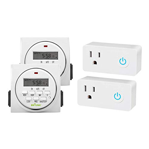 BN-LINK 7 Day Heavy Duty Digital Programmable Timer, FD60 U6, Dual Outlet, Indoor, UL Listed (2 pack)/Wifi Heavy Duty Indoor Smart Plug, 2.4 Ghz Network Only (2 pack)