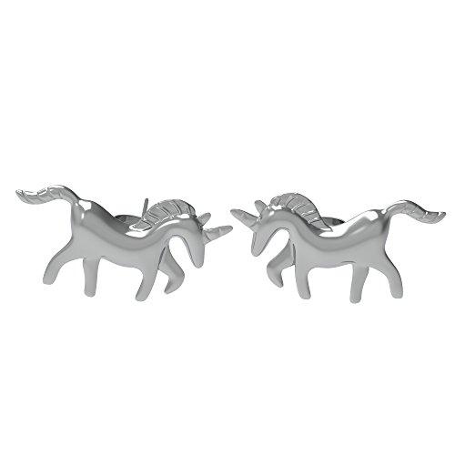 Einhorn Ohrringe Ohrstecker aus 925 Sterling Silber als Geschenk für Mädchen Kinder Frauen Damen