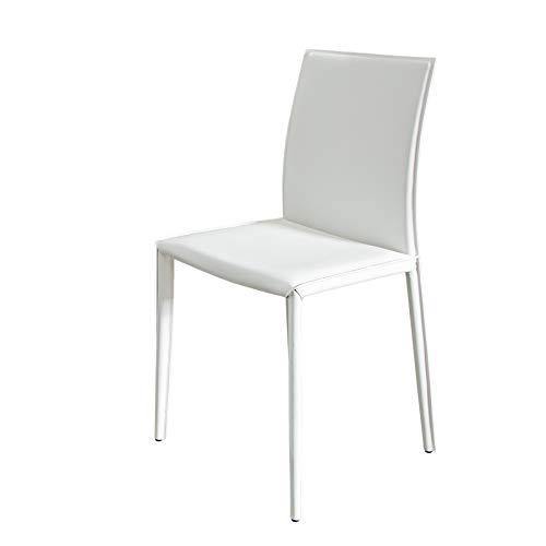 Invicta Interior Stuhl Milano weiß Ziernaht Esszimmerstuhl Besucherstuhl Konferenzstuhl Besucherstuhl Küchenstuhl Esszimmerstühle Stühle Stapelstuhl