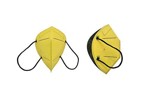 Mascarilla Higiénica Plus Protección Bidireccional - Amarillas 5 Unidades - Fabricada en España - Homologada y Certificada por AITEX con informe de ensayo por AENOR- Reutilizable hasta 20 lavados
