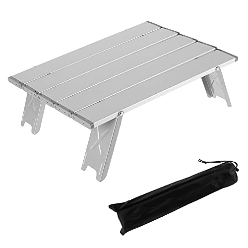 Klappbarer Camping-Tisch, Aluminium Tragbarer Mini Picknicktisch Light Compact für Camping Picknick Kochen Garten Wandern Reisen (White)