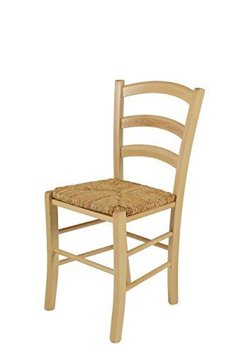 2er Set Holzstuhl Capri I, Gestell Buche massiv, Sitzfläche Binsengeflecht, 43x 47x85 cm
