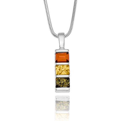 Copal Damen Kette Bernstein Silber 925 3 Steine Mehrfarbig Längen-verstellbar Schmucketui Pärchen Geschenke
