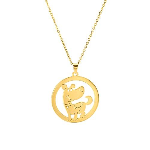TTbaoz Exquisito Cachorro Animado Perro Animal Serie Mujeres Collar Colgante dijes joyería de Cuello de Acero Inoxidable para Regalos-Gold_45cm