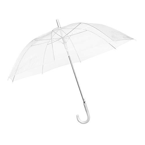 Durchsichtiger Regenschirm transparent, weißer Stockschirm Ø 100 cm; Eleganter Regenschirm in transparent - Das Fashion-Highlight