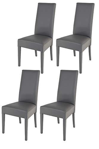 Tommychairs - Set 4 sillas Luisa para Cocina, Comedor, Bar y Restaurante, solida Estructura en Madera de Haya y Asiento tapizado en Polipiel Gris Oscuro