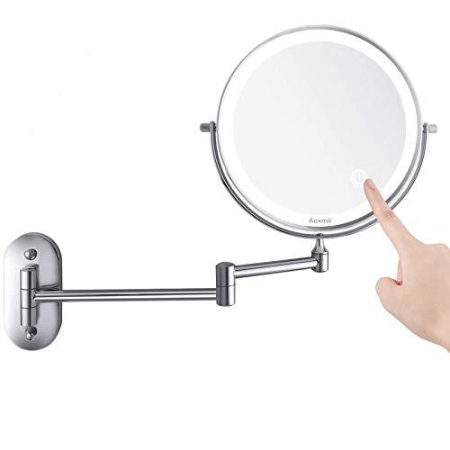 Auxmir Kosmetikspiegel LED Beleuchtet mit 1X / 10X Vergrößerung, Dimmbarer Schminkspiegel mit Touchschalter USB Wiederaufladbar, Rasierspiegel 360° Schwenkbar Wandmontage für Badezimmer, Spa und Hotel