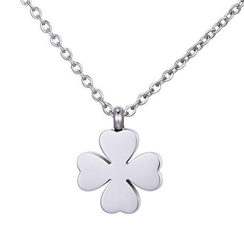Morella Damen Halskette Kleeblatt Anhänger Glücksbringer Edelstahl Silber im Samtbeutel