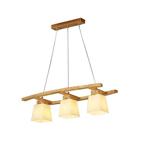 GaLon Retro kroonluchter van hout, eettafel, hanglamp, creatief, 3 vlam, restaurant, hanger, vintage stijl, Country land hanglamp van massief hout, L75 x W34 cm, E27 x 3 persoonlijkheden glazen lampenkap