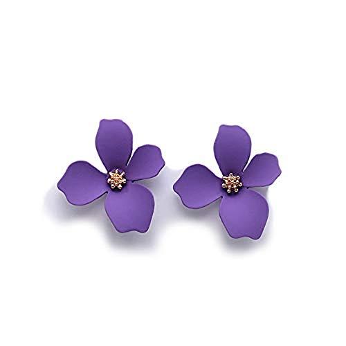 EXINOX Pendientes de Flores | Mujer | Elegantes Pendientes Primavera Verano (Morado)