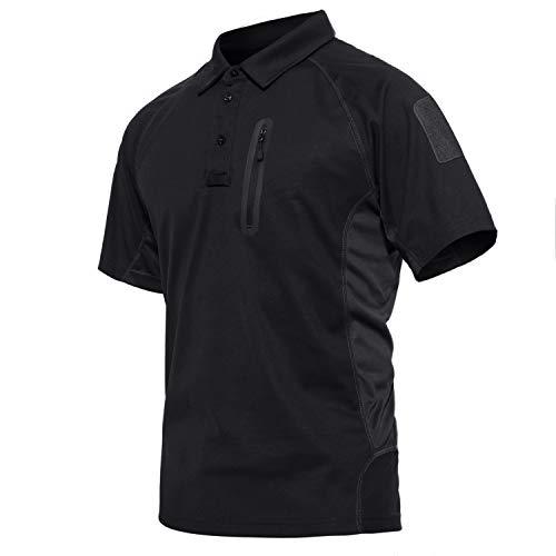 KEFITEVD Jagd Shirt Herren mit Brusttasche Leicht Dünn Sommershirt Kurzarm Tactical Polo Shirt mit Kragen Männer Bundeswehr Militär Hemd Schwarz 2XL