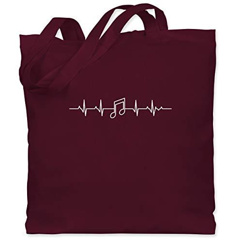 Shirtracer Symbole - Herzschlag Musik Note - Unisize - Bordeauxrot - tasche musik - WM101 - Stoffbeutel aus Baumwolle Jutebeutel lange Henkel