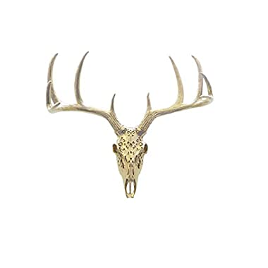 Near and Deer Faux Taxidermy Native American Carving Deer Skull Wall Mount, Gold
