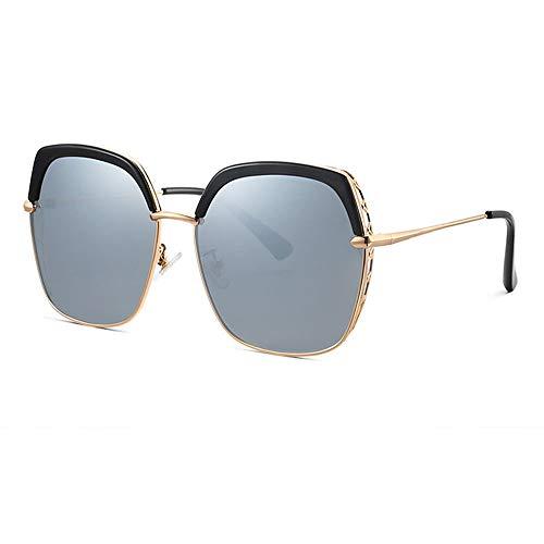 Gafas de Sol polarizadas para Mujer, Gafas de Sol de Marco Poligonal, Lentes Anti-ultravioletas Grandes, Hacer su Cara Delgada, Gafas al Aire Libre para Conducir y Pescar, Negro, púrpura, Rosa, Plata