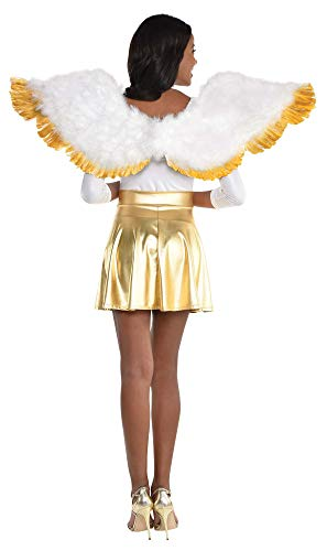 amscan Adult Gold Tip White Angel Wings- 1 pc.