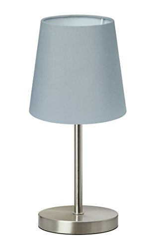 Trango lámpara de mesa Lámpara de noche lámpara de escritorio Lámpara'GREY' con pantalla de tela en gris TG2017-08G - Ø 170 mm, altura: 350 mm