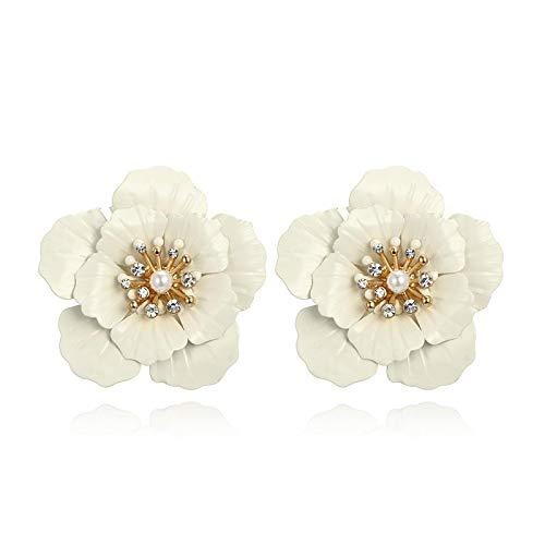 DFDLNL Pendientes para Mujeres Flores Blancas Pendientes de hipérboles Temperamento Flores de Perlas Pendientes de botón para Mujer Accesorios PendientesPendientes de botón C