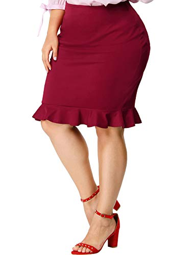 Agnes Orinda Women's Plus Size Fishtail Skirts Ruffle Hem Stretch Midi Pencil Skirt Christmas 4X Red