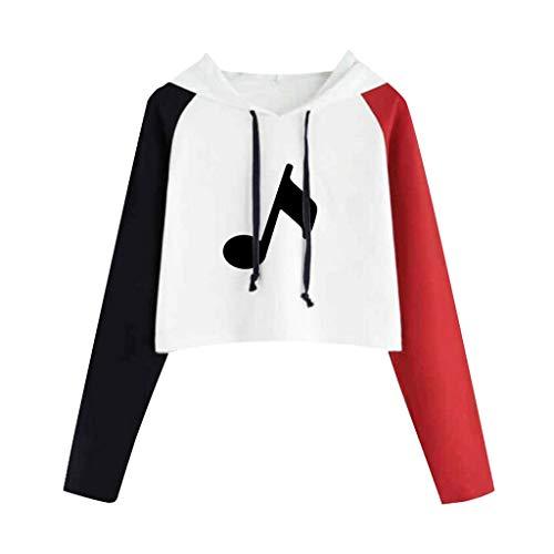 Sudadera con capucha para mujer con diseño de notas musicales, estampado gráfico, bloque de color, raglán, manga larga con cordón