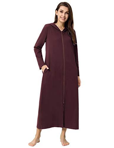 Zexxxy dames badjas met ritssluiting en knuffelige capuchon Loungewear nachtkleding