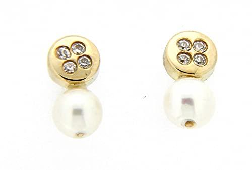 Pendientes perla oro amarillo 18K [8-2630-P]
