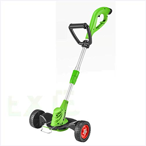 YAP Grass Trimmer with Wheel Push Type Grass Edger Strimmer Electric Rechargeable Telescopic Lightweight Lawn Mower with Battery and Charger for Garden Courtyard Home