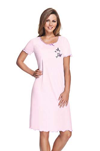 e.FEMME® Damen Nachthemd 807 aus Baumwolle und Modal, Rose, Gr. 48