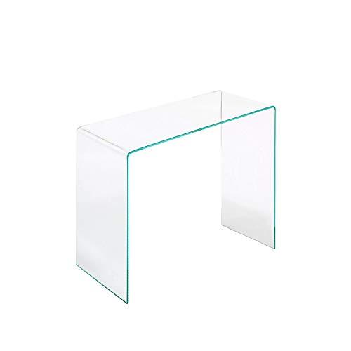 EGLEMTEK Consolle Tavolo da Salotto in Vetro Temperato, Tavolo Luxury Z-13, Design Curvo E Moderno, 80 x 76 x 35 cm, Vetro Temperato Trasparente