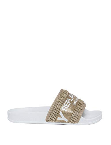Replay Women's Flat Sole Slides Gold in Size 38