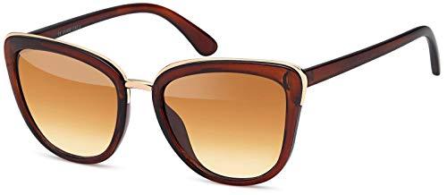 styleBREAKER Sonnenbrille in Katzenaugen Schmetterling Form mit Metall und Kunststoff Rahmen,Cat-Eye, Damen 09020078, Farbe:Gestell Braun-Gold/Glas Braun Verlauf