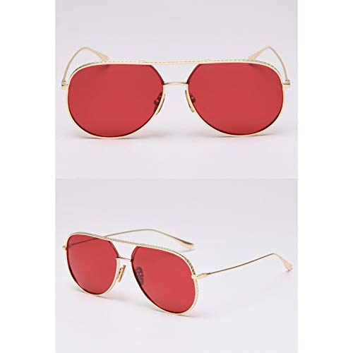 SXRAI Gafas de Sol polarizadas Hombre Metal Oro Negro Mujer Gafas de Sol de Gran tamaño,C4