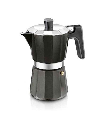 BRA Perfecta Black - Cafetera Italiana Inducción, Aluminio, Capacidad 9 tazas, color negro