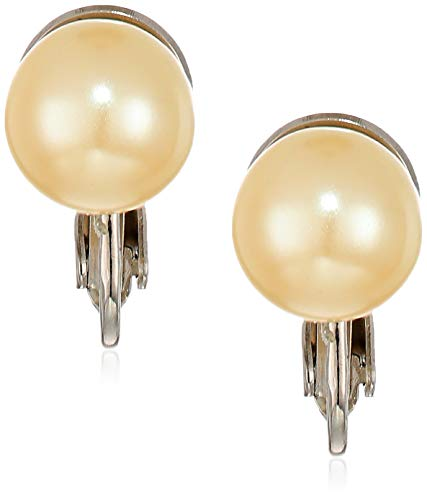 1928 Jewelry Women's Silver-Tone Simulated Pearl Clip Earrings, White, One Size