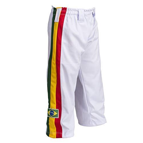 JL Sport Pantaloni Autentico Brasileiano Capoeira Arti Marziali Ragazzo (Bianco Giamaicano Reggae Theme) - 3-4