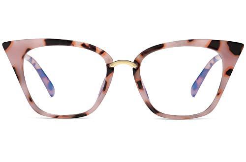 MORESHINE Cateye Anti Blue Light Blocking Computer Glasses Fashion Women Eyeglasses Frames Anti UV Clear Lens (Pink Tortoise)