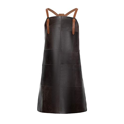 THEODORE Leather Work Apron - Comfortable Crossback Leather Straps. Ideal for Woodworking, Welding Workshop, as Barista & Barbecue Grill Apron. 3 Large Pockets for Tools. Adjustable to Fit Men & Women