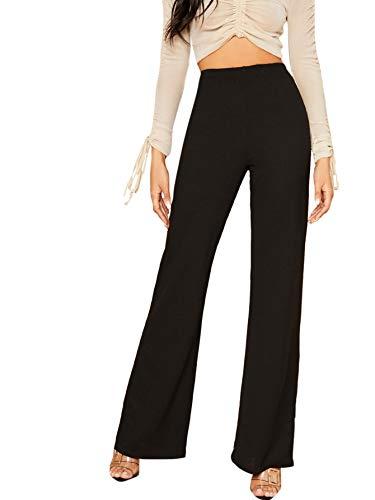 DIDK Damen Hosen Hohe Taille Breites Bein Lange Elastischer Bund Hose Palazzo Einfarbig Anzughose Büro Pants Elegant Schwarz#2 M
