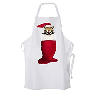 Christmas Cat in Stocking - Christmas Apron