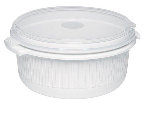 Emsa 450101200 Mikrowellentopf mit Deckel, 1 Liter, Kunststoff, Weiß, Micro Family