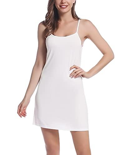 Joyaria Unterkleid Damen Spaghettiträger Nachthemd Baumwolle Kurz Sommer Full Slip Nachtkleid Nachtwäsche(Weiß, Größe L)