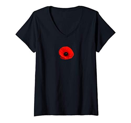 Womens Single Red Poppy Flower , Red Papaver , Botanical Design V-Neck T-Shirt