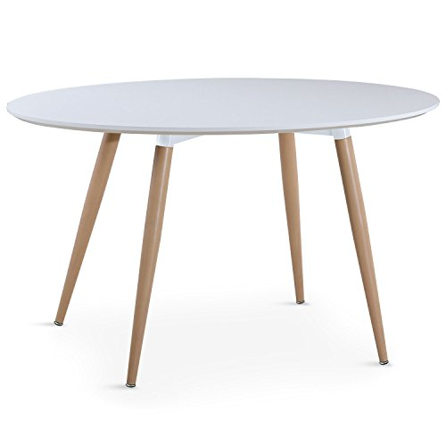 Menzzo Sissi Table Ovale Scandinaves, Bois, Blanc, 130 x 80 x 75 cm