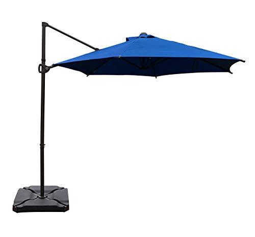 SORARA Offset Cantilever Umbrella 10-Feet Outdoor Patio Hanging Umbrella (Weight Base not Included), Ocean Blue