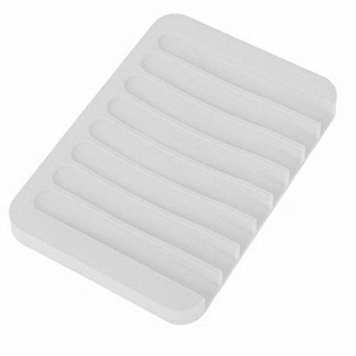 Blaue Silikon-Seifenablage kompatibel für das Badezimmer weiß