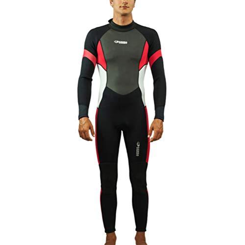 HERAHQ 3 Mm Neopren-Ganzkörper-Wetsuit Für Mann, Triathlon Dive Skins One Piece Warm Tauchanzug Für Schnorchel Scuba Surfen Angeln Schwimmen,Rot,L